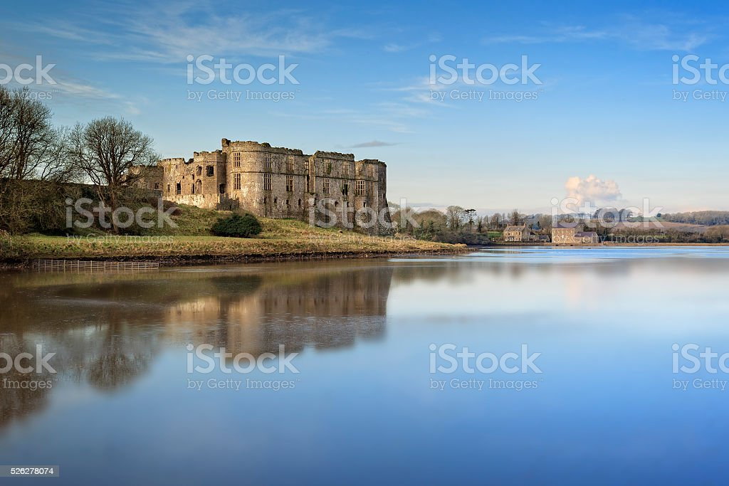 Carew Castle Reflection stock photo