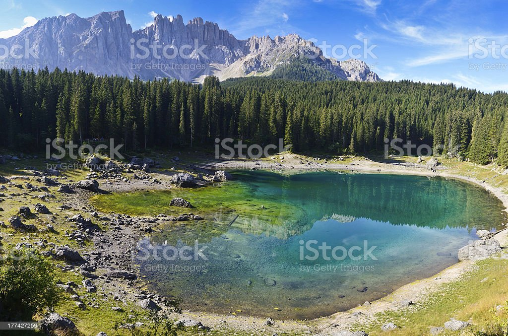 Carezza's lake and mount Latemar royalty-free stock photo