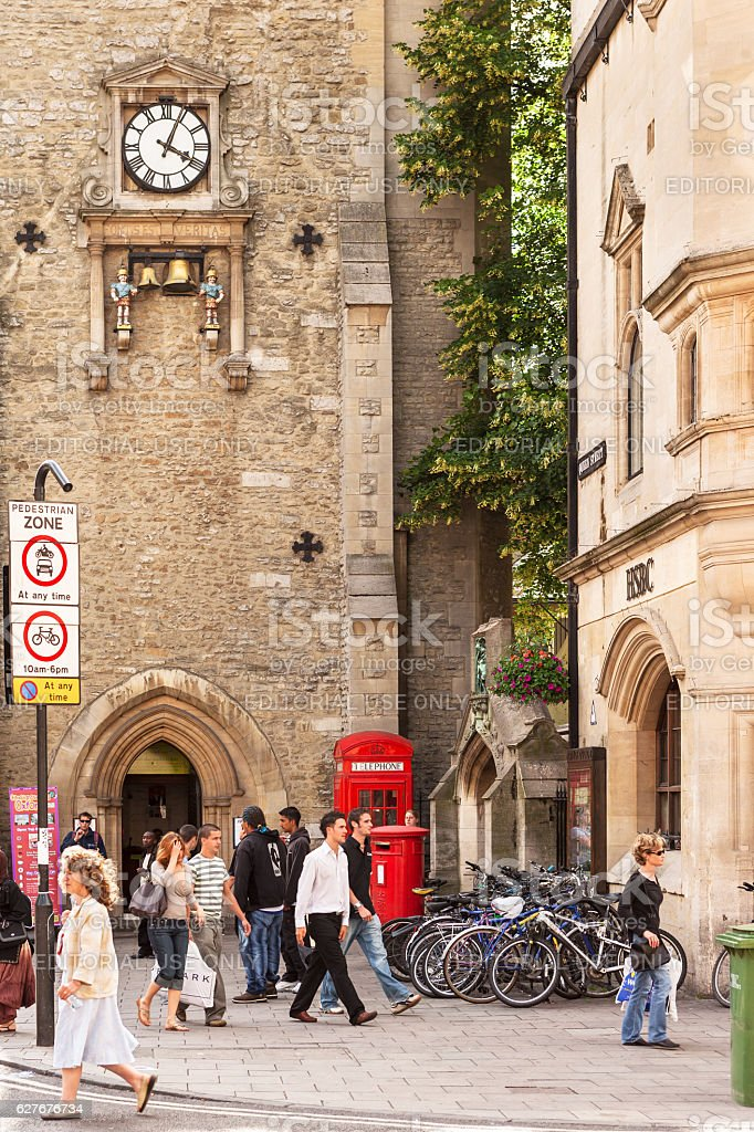 Carfax Tower With A Clock In Oxford England Stock Photo More