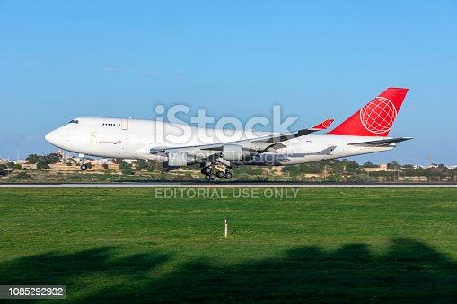 Luqa, Malta - December 17, 2018: Air Cargo Global Boeing 747-433M(BDSF) (REG: OM-ACB) landing in the late evening.