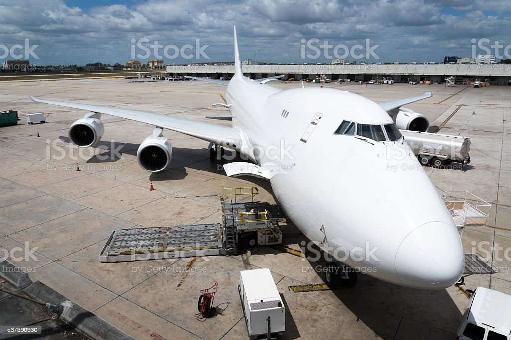 Cargo Aircraft front view stock photo