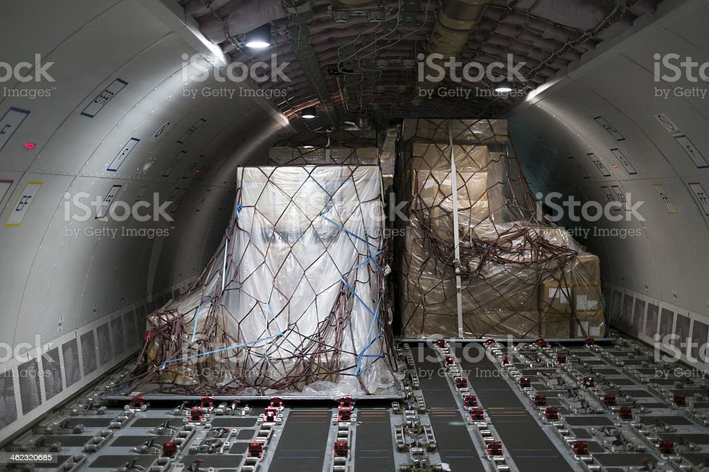 cargo aircraft interior stock photo