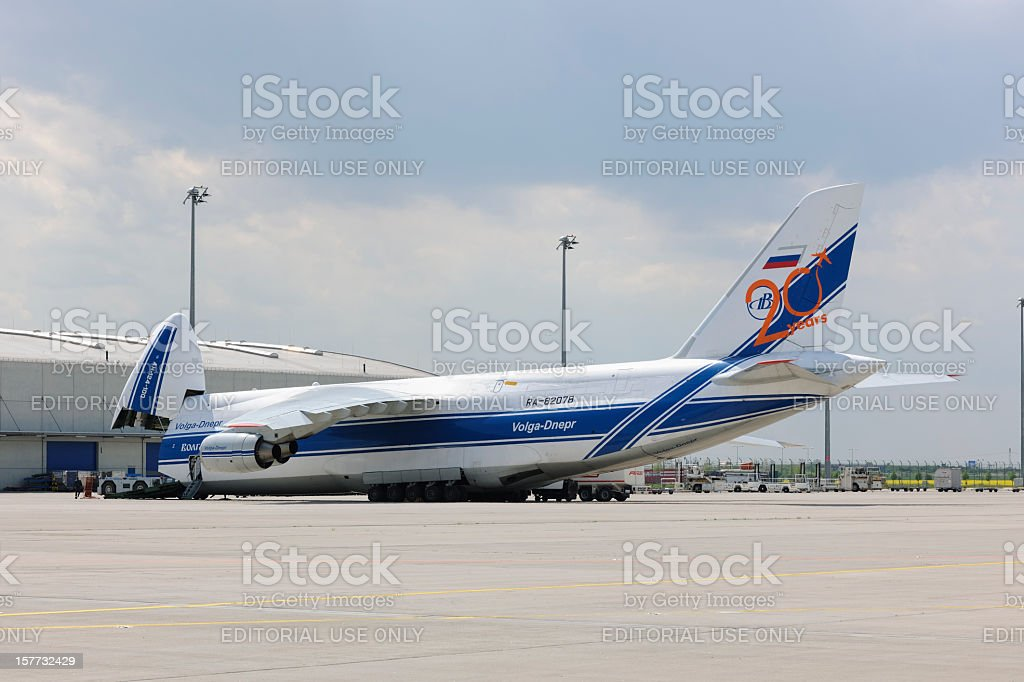 Cargo Aircraft on the Ramp of Leizig/Halle Airport stock photo