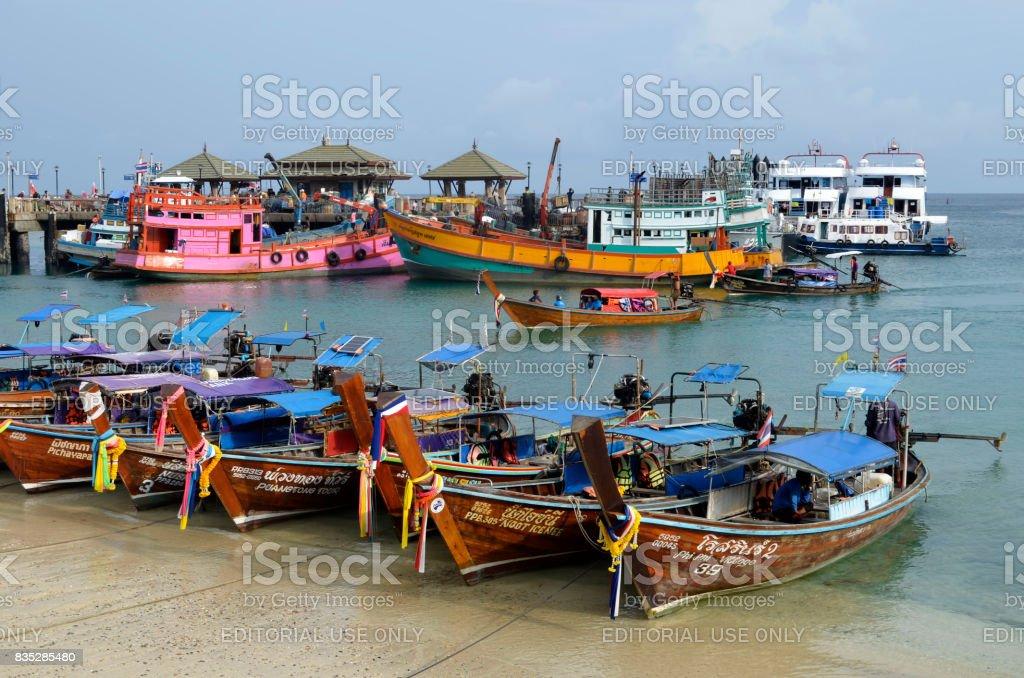 Cargo and diving boats at Tonsai harbor at Phi Phi Don island stock photo