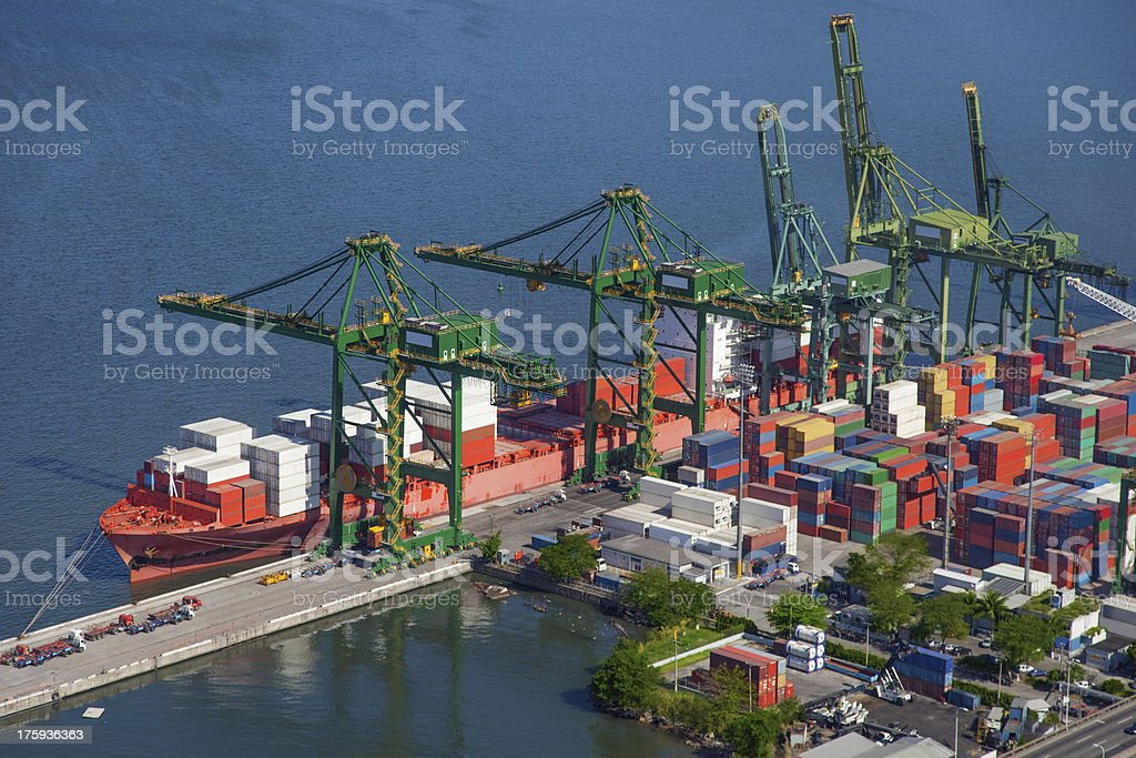 Cargo boat anchored in the port royalty-free stock photo