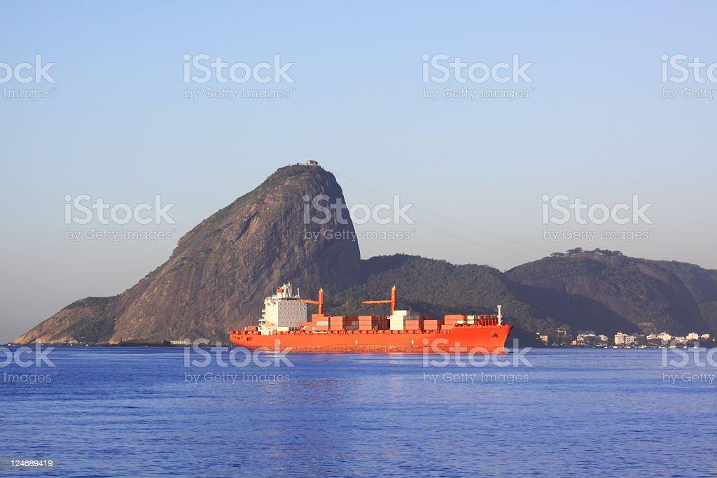 Cargo boat in Rio de Janeiro royalty-free stock photo