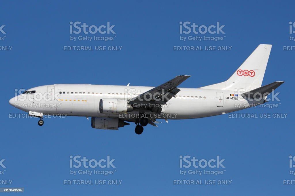 Cargo Boeing 737 of TNT airlines OO-TNG landing at Sheremetyevo international airport. stock photo