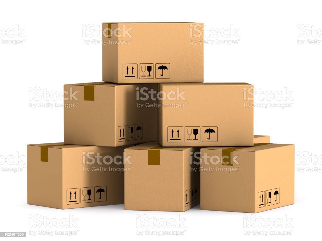 cargo box on white background. Isolated 3D illustration stock photo
