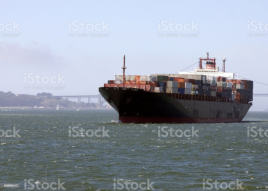 Cargo Carrier in San Francisco Bay royalty-free stock photo