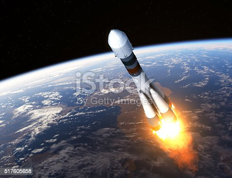 Cargo Carrier Rocket Launch. 3D Scene.