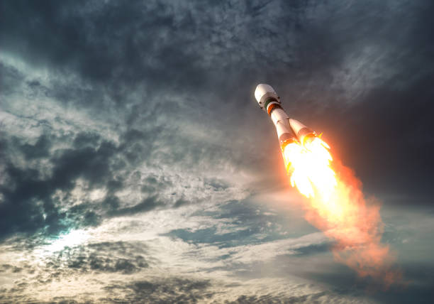 Cargo Carrier Rocket Takes Off To The Clouds stock photo