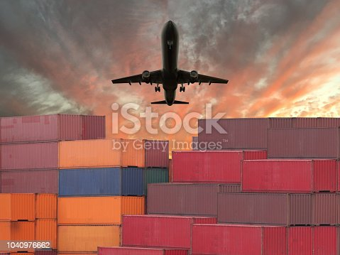 Cargo container global shipping airplane