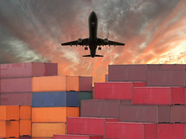 Cargo container global shipping airplane stock photo