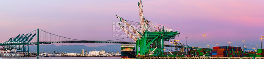 cargo container port with crane