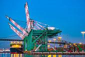 cargo container port with crane
