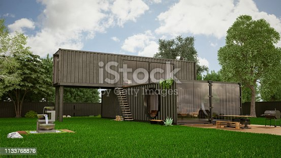 Cargo Container House with Garden. 3D Render