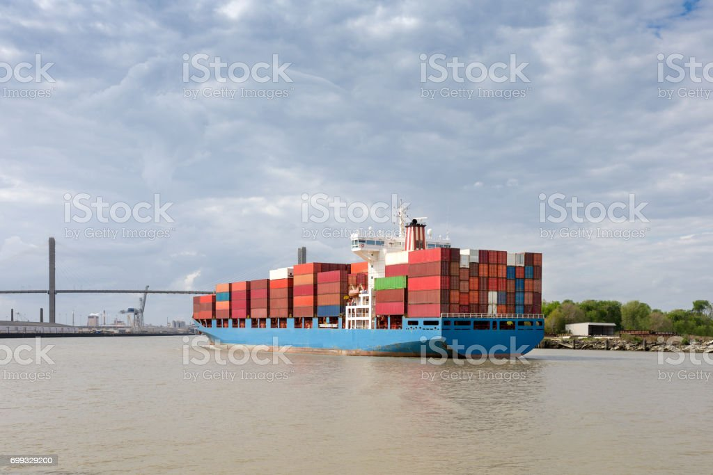 Cargo Container Ship Approaching Port Of Savannah Ga Stock Photo - Download  Image Now