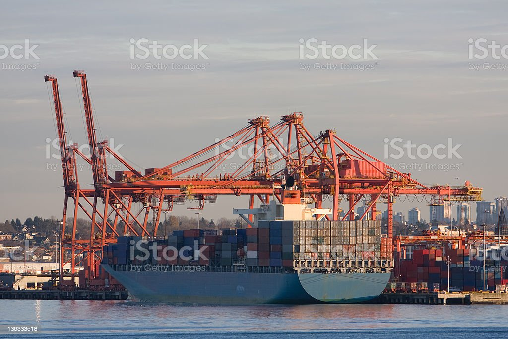 Cargo Container Ship at Port stock photo