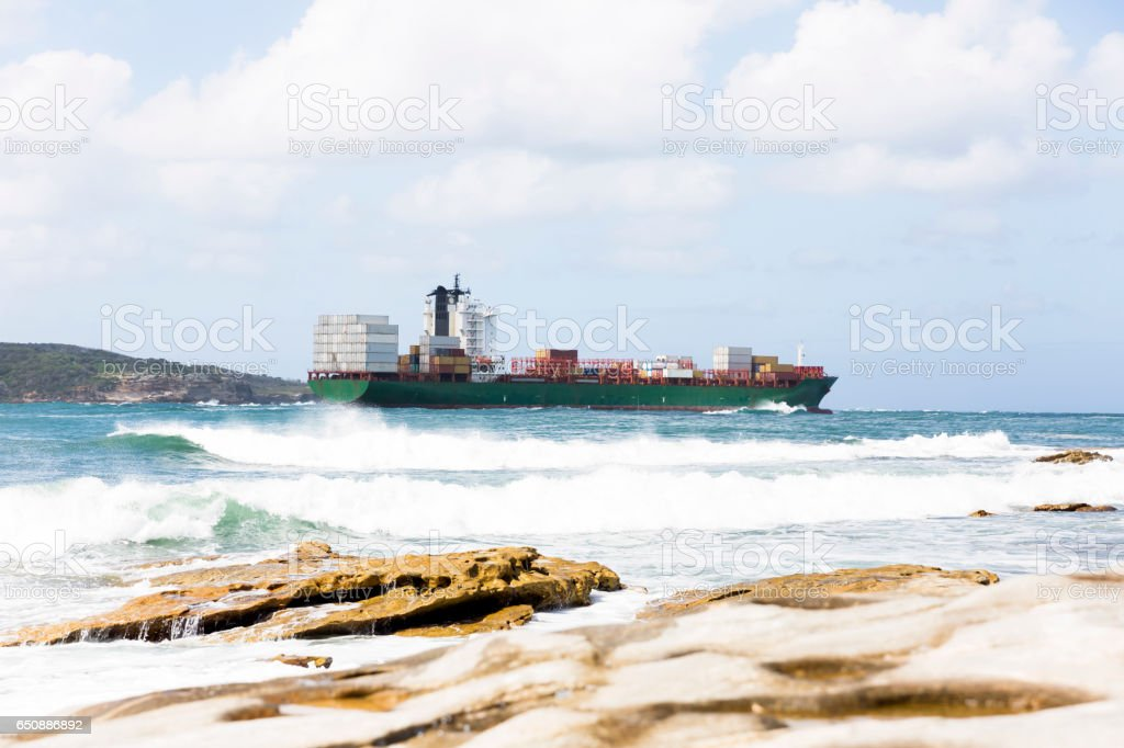 Cargo Container ship at the sea, background with copy space stock photo