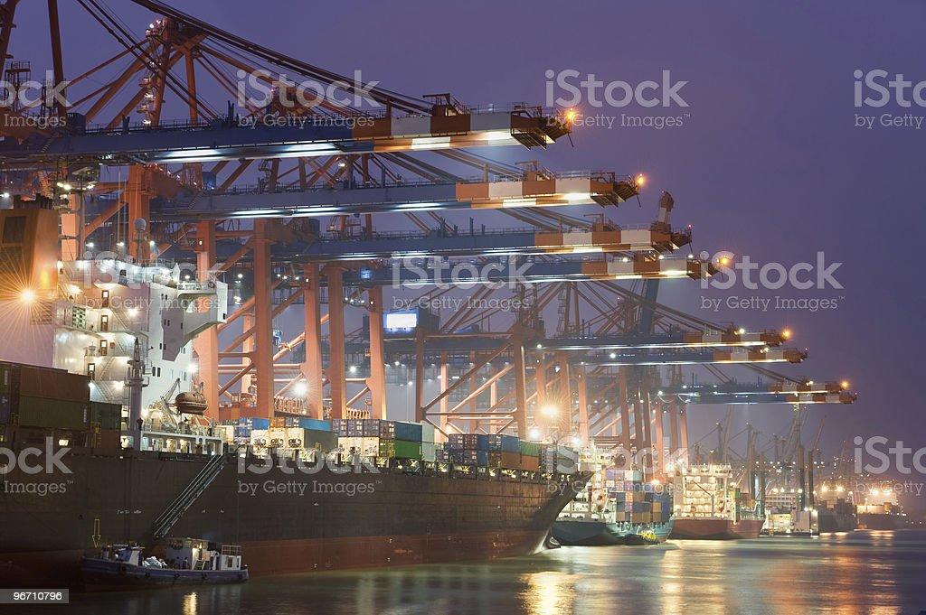 Cargo container ship in Hamburg, Germany harbor royalty-free stock photo