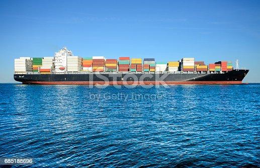 istock Cargo container ship in the ocean 685188696