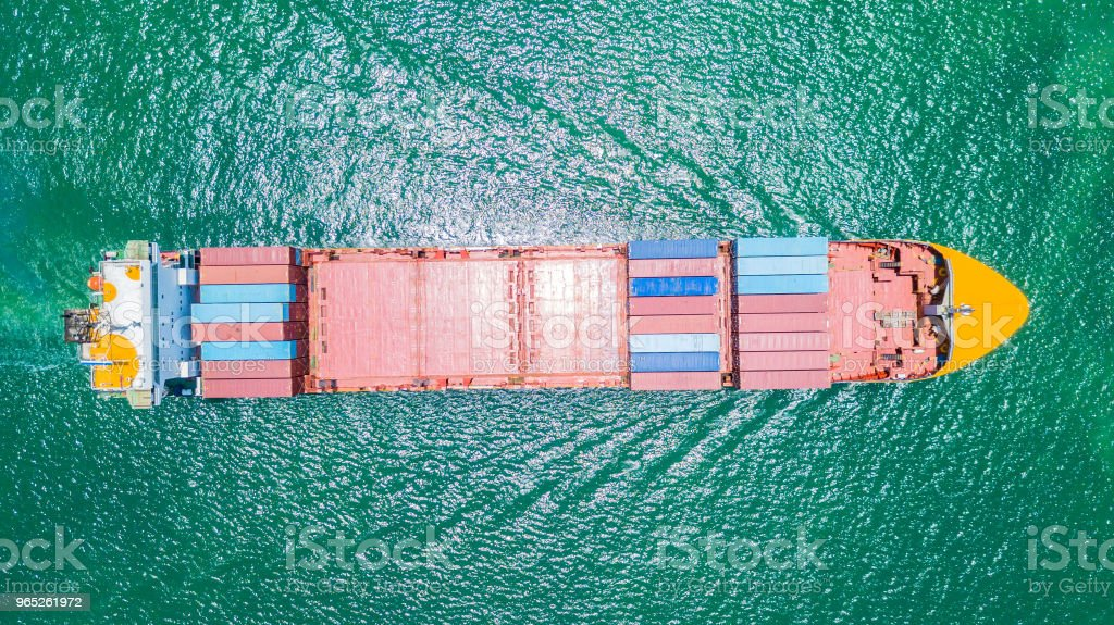 Cargo container ship in the sea at Deep water port zbiór zdjęć royalty-free
