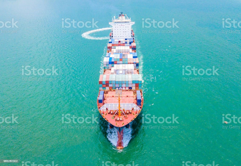 Cargo container ship in the sea at Deep water port royalty-free stock photo