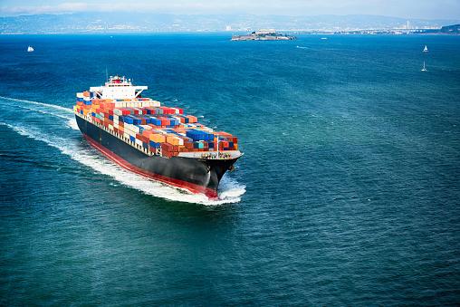 Cargo Container Ship on San Francisco Bay