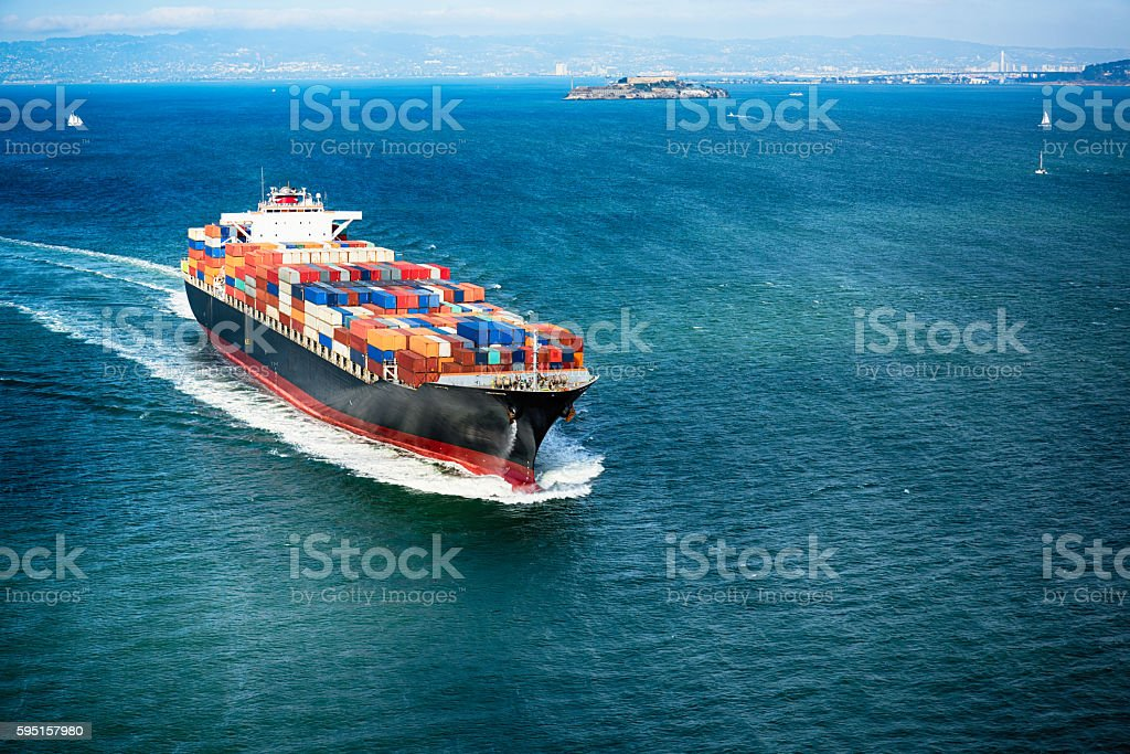 Cargo Container Ship on San Francisco Bay stock photo