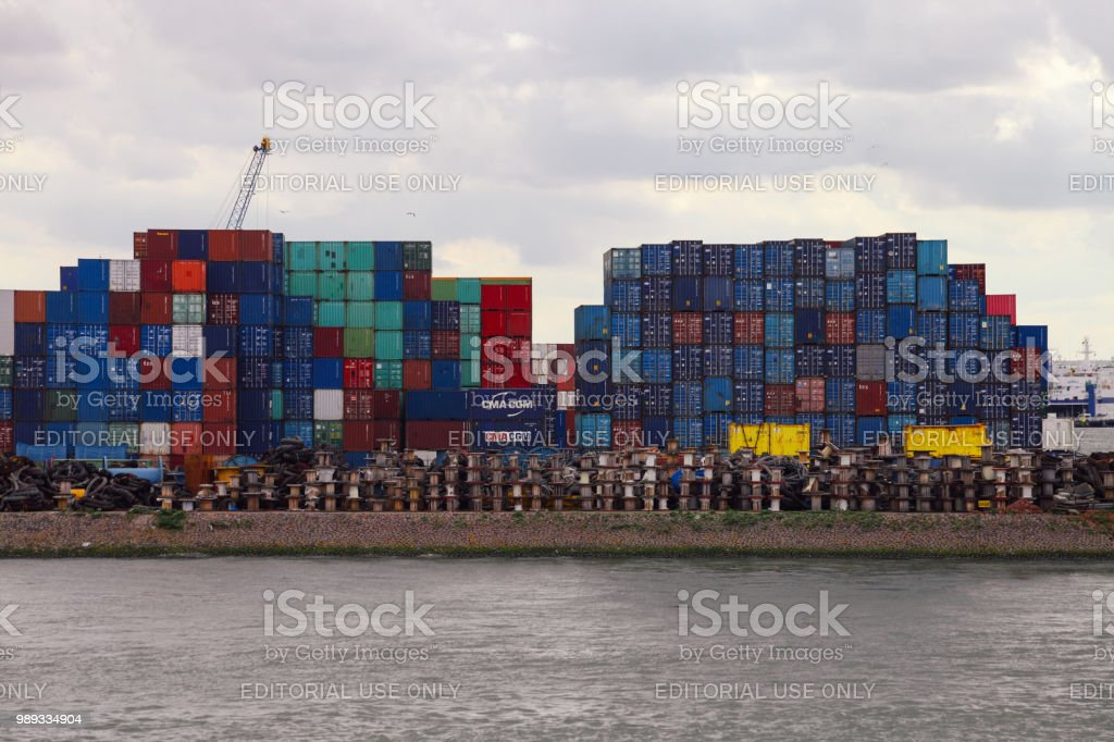 Cargo containers freight transportation in port Rotterdam,...