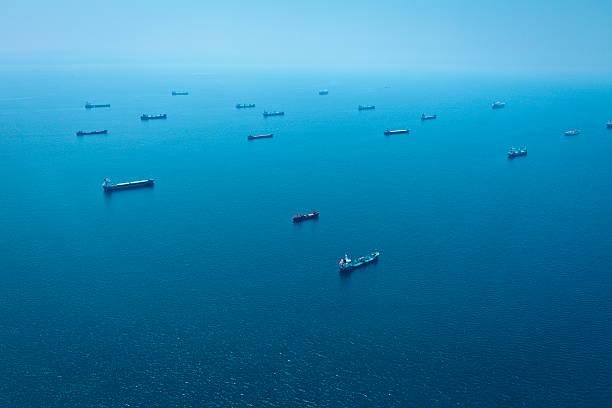 Container-Schiffe Luftaufnahme – Foto