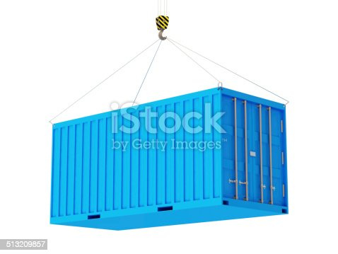 istock Cargo Container with a Hook isolated on white background 513209857