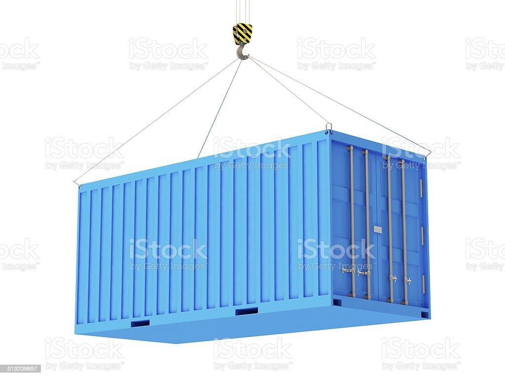 Container mit einem Haken isoliert auf weißem Hintergrund – Foto