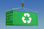 Cargo container with recycling logotype concept. 3D rendering