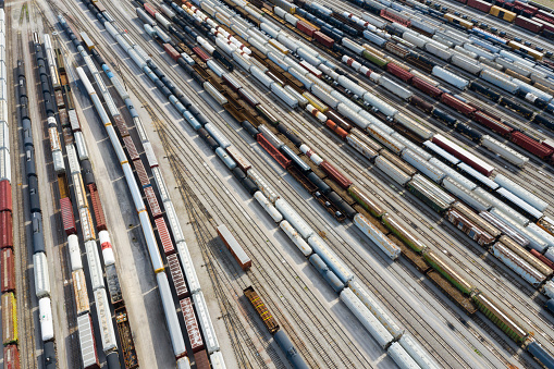 Aerial view of cargo containers and freight trains, Missouri, USA.
