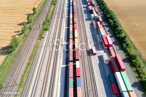 Aerial view of cargo containers and freight trains, Baden Wurttemberg, Germany