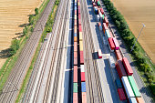 Cargo Containers and Freight Trains, Aerial View