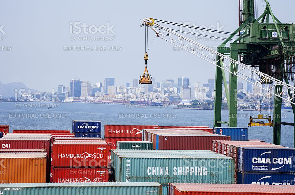 Cargo containers are sitting on the docks in Rio, Brazil royalty-free stock photo
