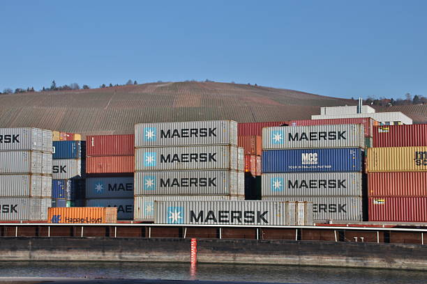 Cargo containers at the cargo container terminal in Stuttgart stock photo