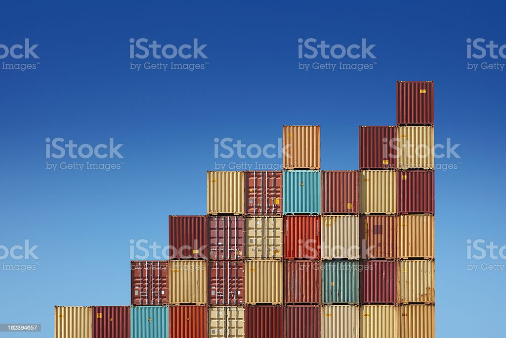 Cargo containers chart stock photo