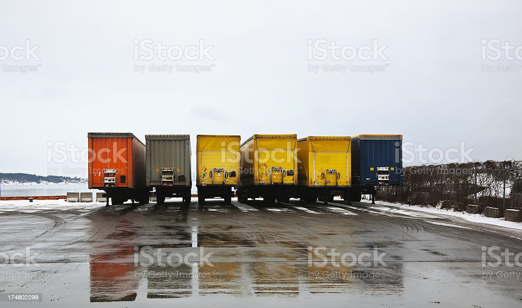 Cargo containers in winter. royalty-free stock photo