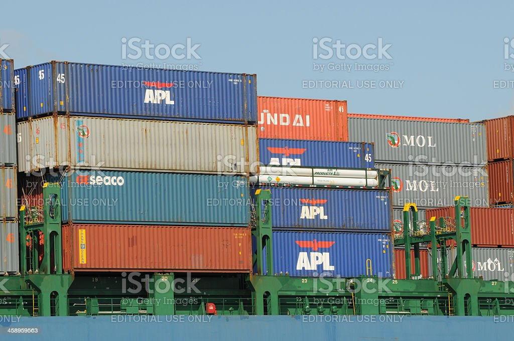 cargo containers on ship royalty-free stock photo