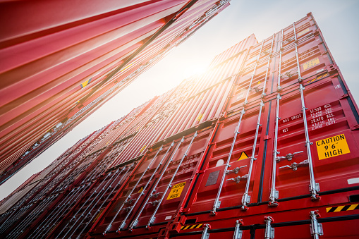 Frachtcontainern Stockfoto und mehr Bilder von Auslieferungslager