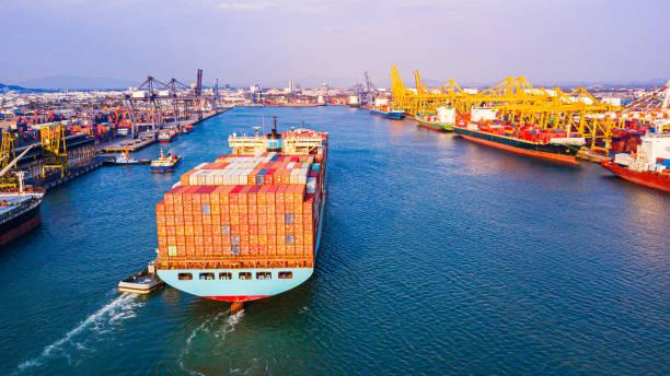 Frachtcontainer Schiff Logistik Transport Container Ship Ship Cargo Carrier. Import Export Logistik internationalen Export und Import Dienstleistungen Export Produkte weltweit – Foto