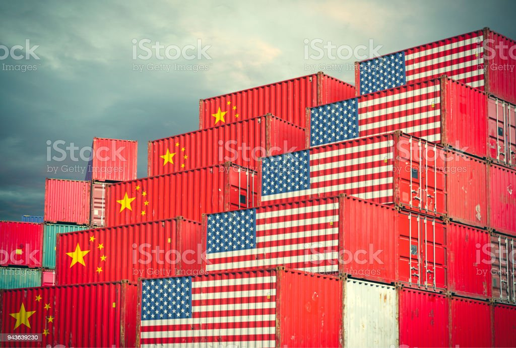 Cargo containers with Chinese and United States flag stock photo