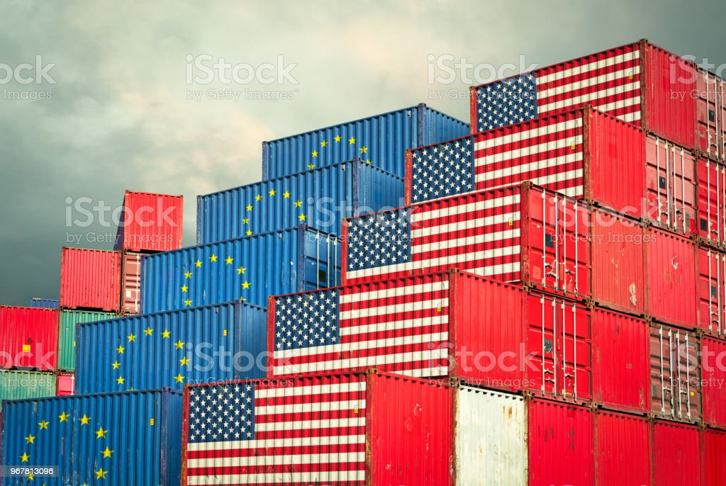 Cargo containers with EU and United States flag stock photo