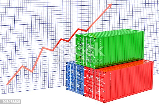 istock Cargo containers with growing chart. 3D rendering 958968806