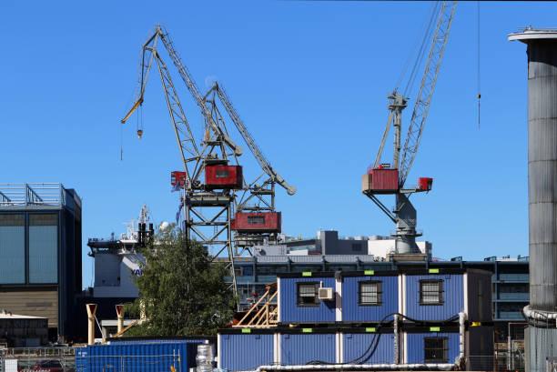 Cargo Cranes in Helsinki, Finland stock photo