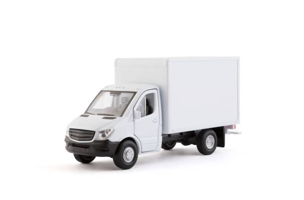Cargo delivery truck on white background with clipping path stock photo
