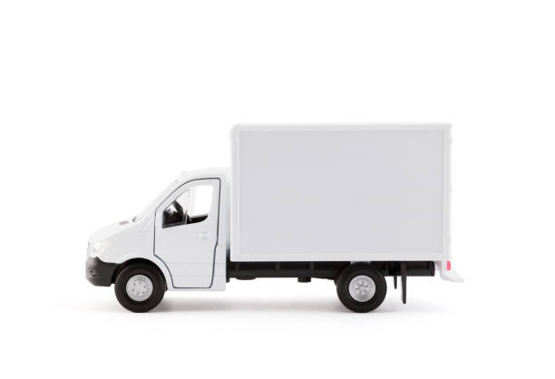 Cargo delivery truck side view on white background stock photo